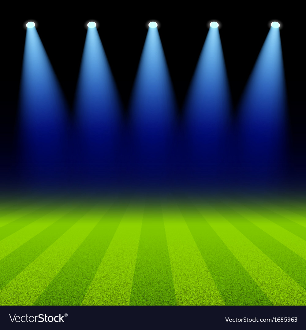 Bright spotlights illuminated green soccer field vector | Price: 1 Credit (USD $1)