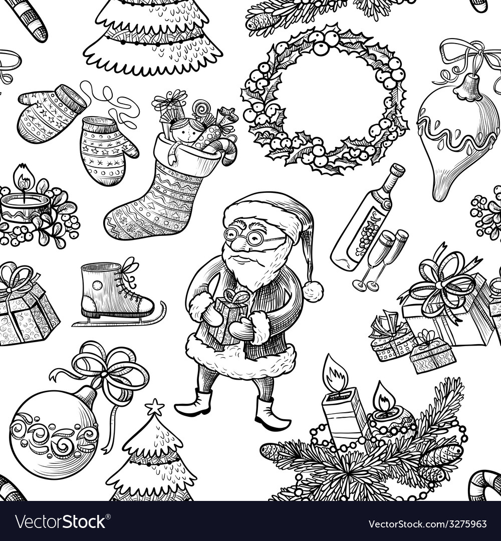 Christmas doodle seamless vector   Price: 1 Credit (USD $1)
