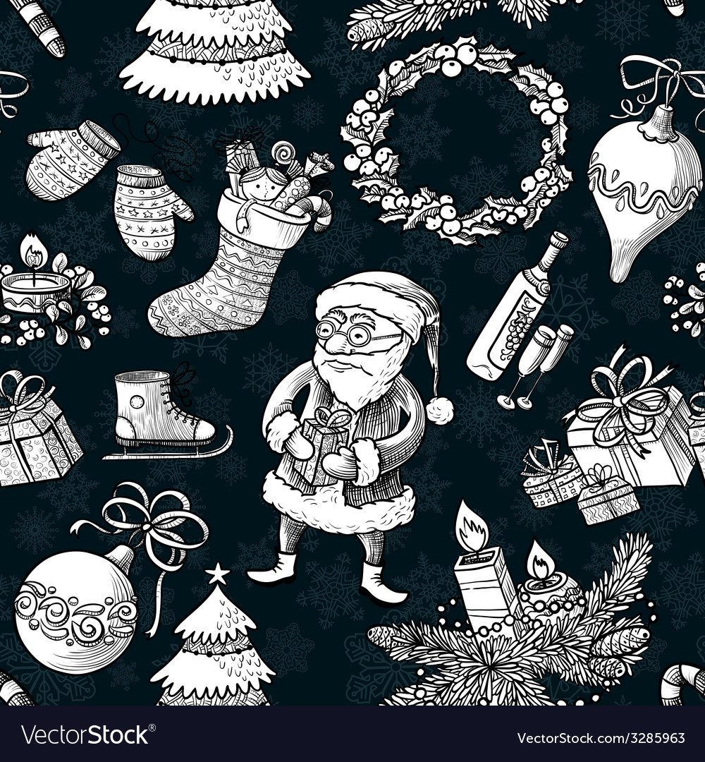 Christmas sketchy pattern vector | Price: 1 Credit (USD $1)