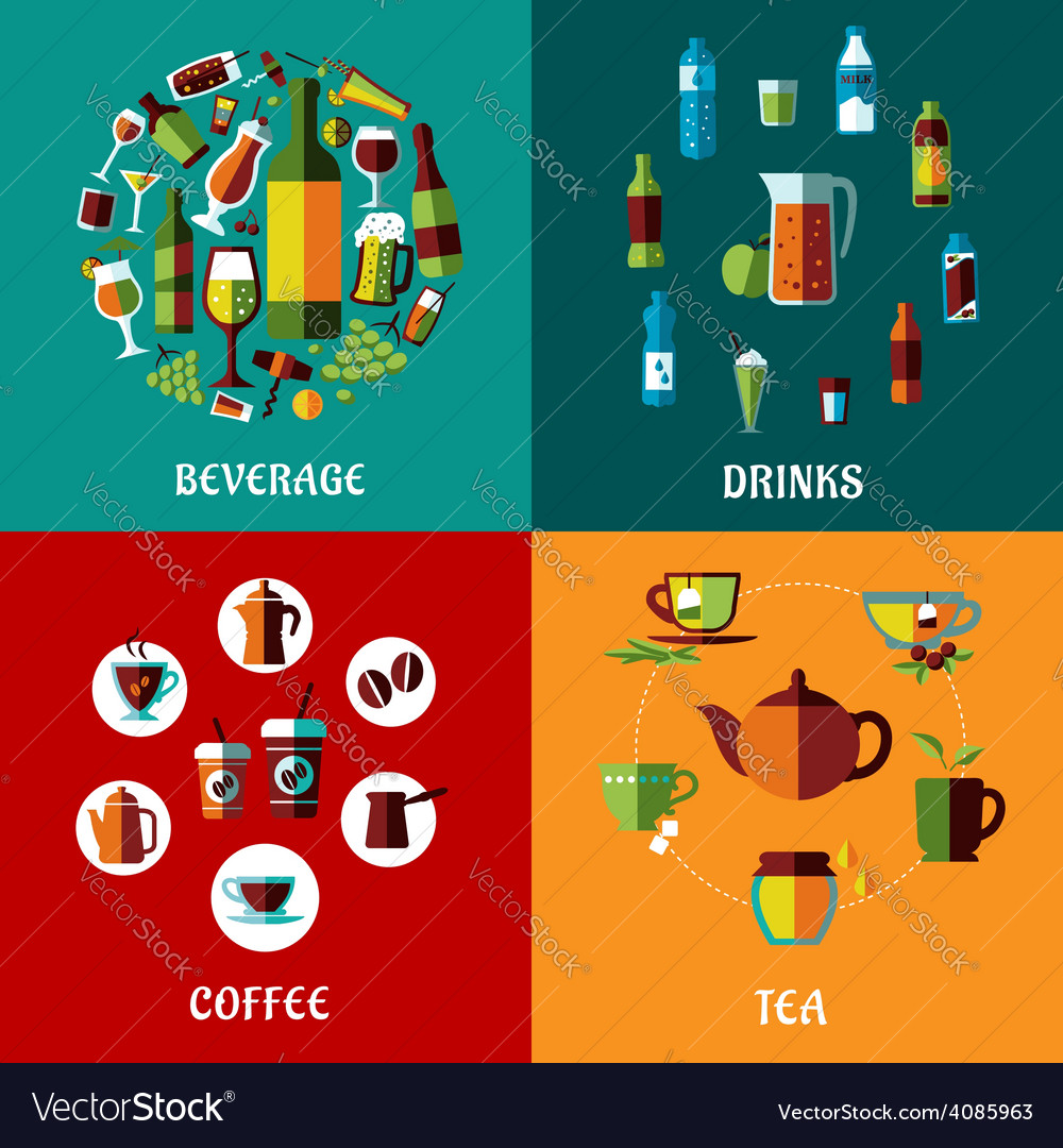 Drinks and beverages flat compositions vector | Price: 1 Credit (USD $1)