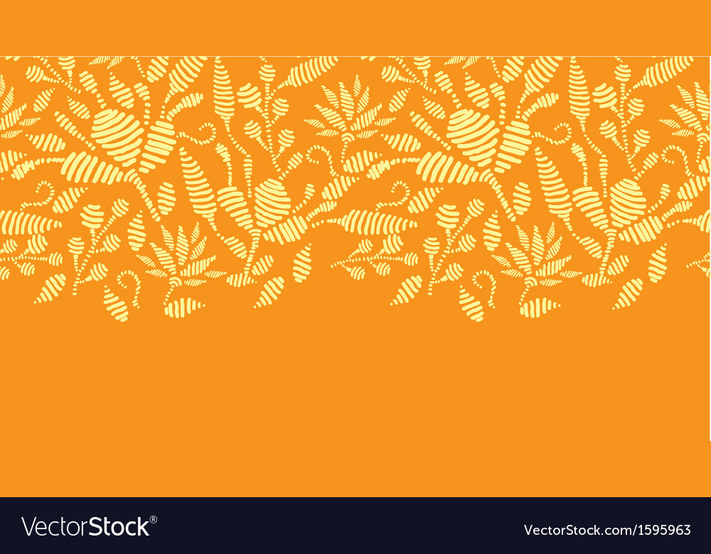 Golden floral embroidery horizontal border vector | Price: 1 Credit (USD $1)
