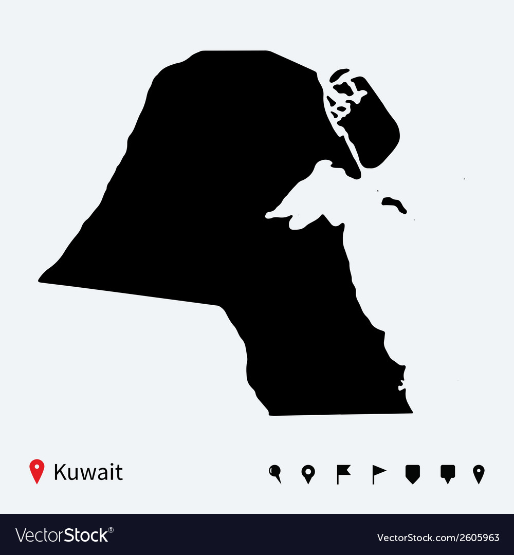 High detailed map of kuwait with navigation pins vector | Price: 1 Credit (USD $1)
