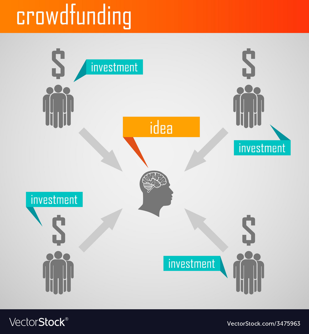 Infographic crowdfunding for web or print design vector | Price: 1 Credit (USD $1)