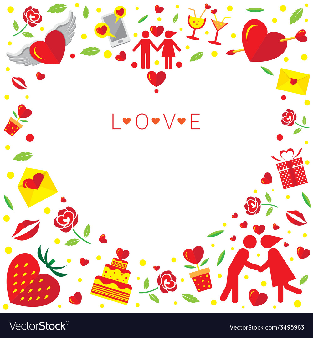 Love icons frame and border vector | Price: 1 Credit (USD $1)