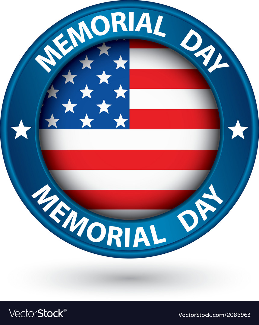 Memorial day blue label with usa flag vector
