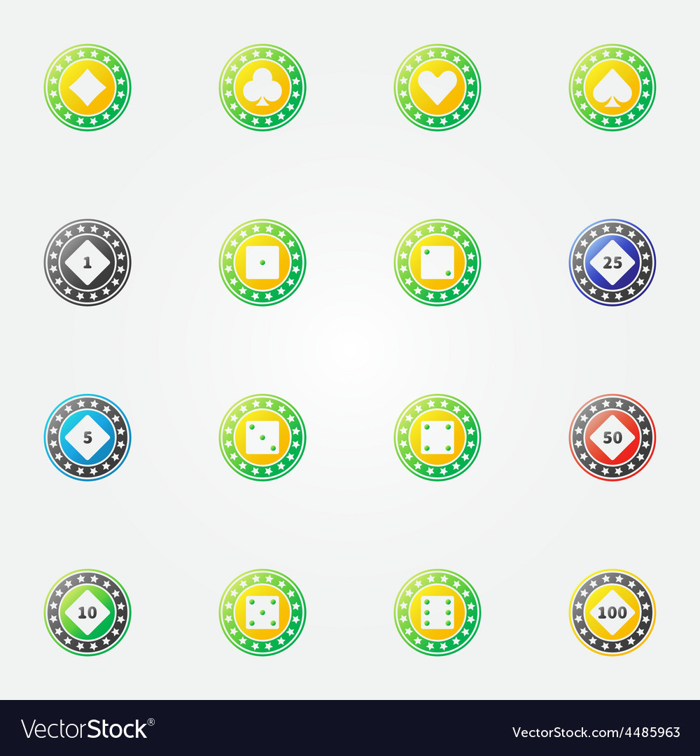 Poker chips bright icons vector | Price: 1 Credit (USD $1)