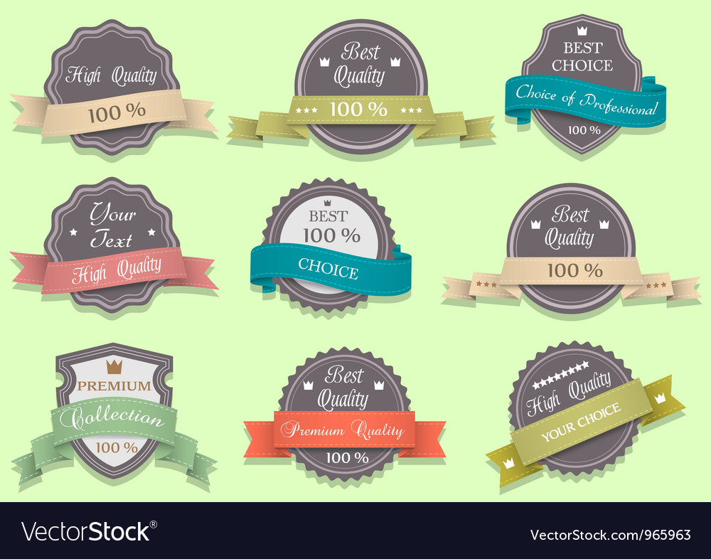 Premium quality labels in retro style vector | Price: 1 Credit (USD $1)