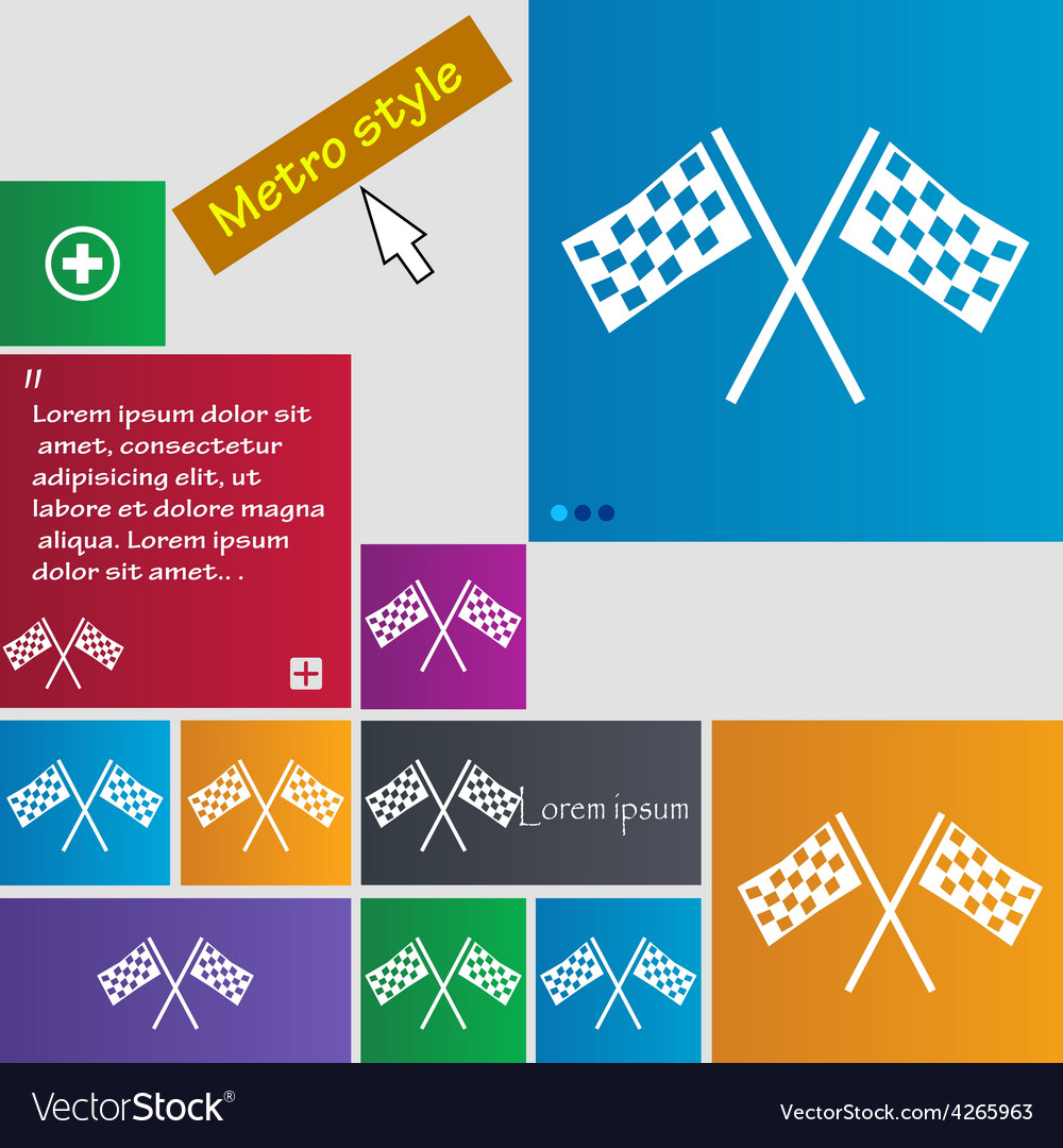 Race flag finish icon sign metro style buttons vector | Price: 1 Credit (USD $1)