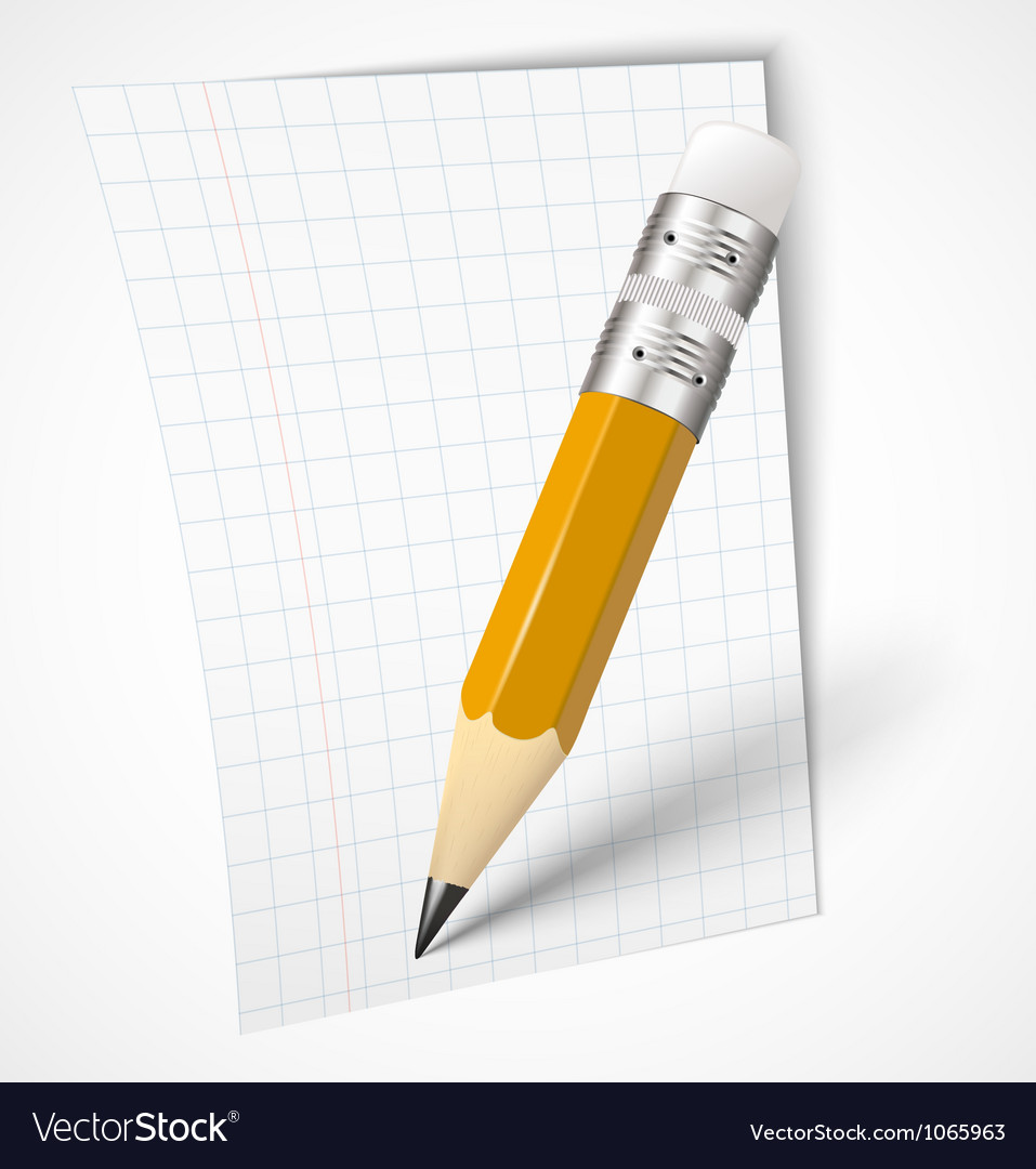 Realistic yellow pencil with paper vector | Price: 1 Credit (USD $1)