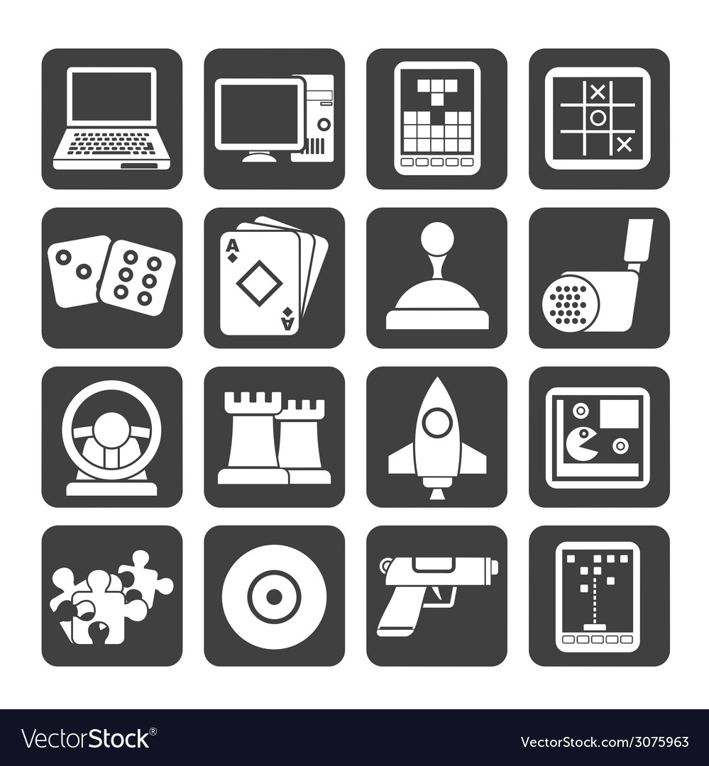 Silhouette computer games tools and icons vector | Price: 1 Credit (USD $1)