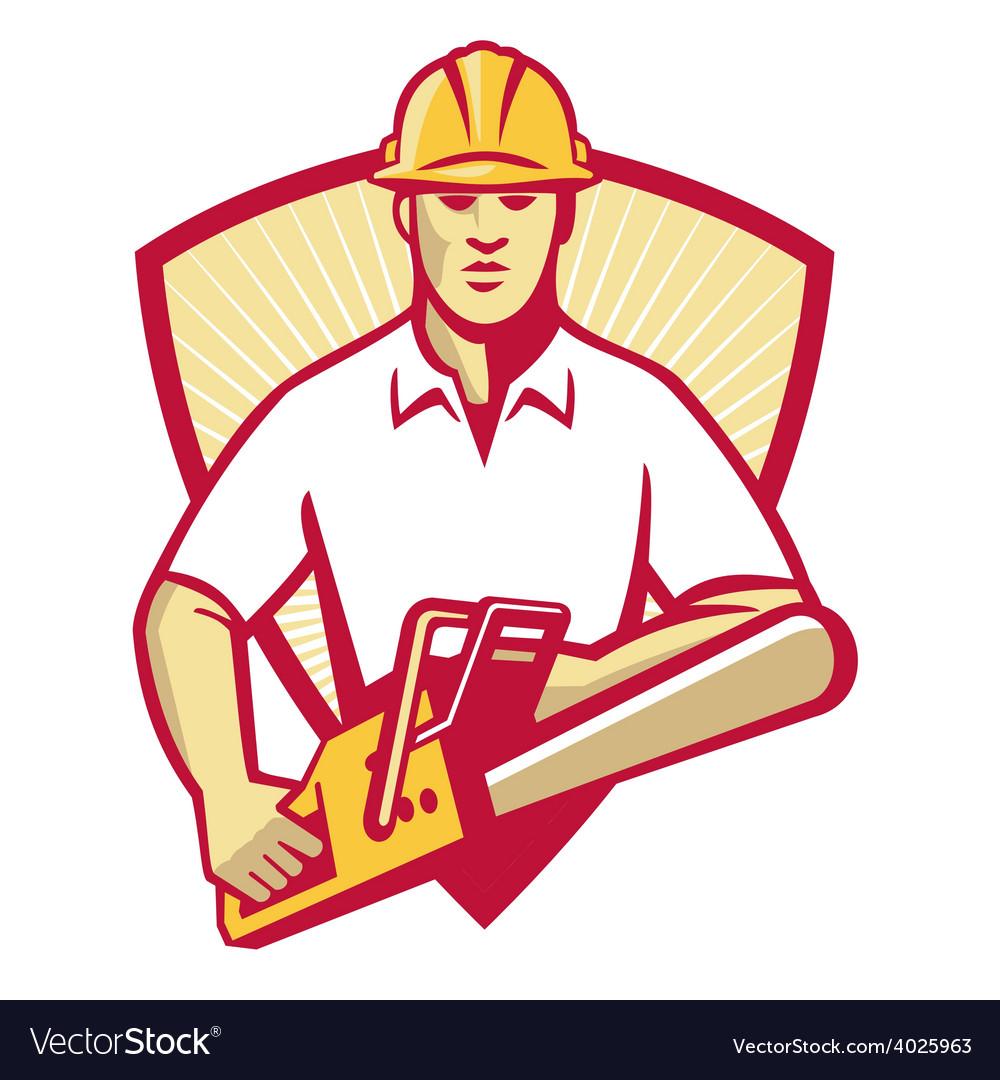 Tree surgeon arborist gardener chainsaw vector | Price: 1 Credit (USD $1)