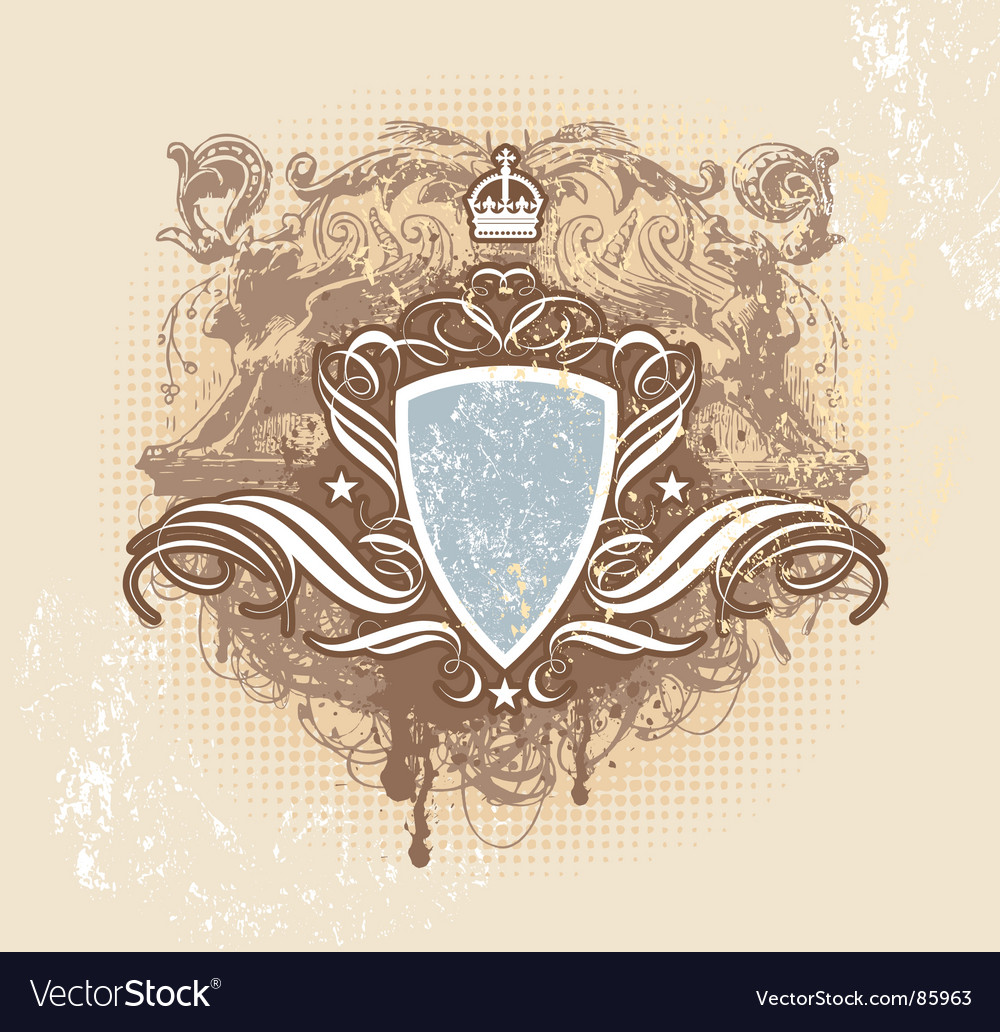 Vintage shield crown vector | Price: 1 Credit (USD $1)