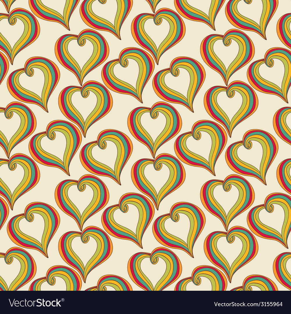 Abstract colorful hearts on a beige background vector | Price: 1 Credit (USD $1)