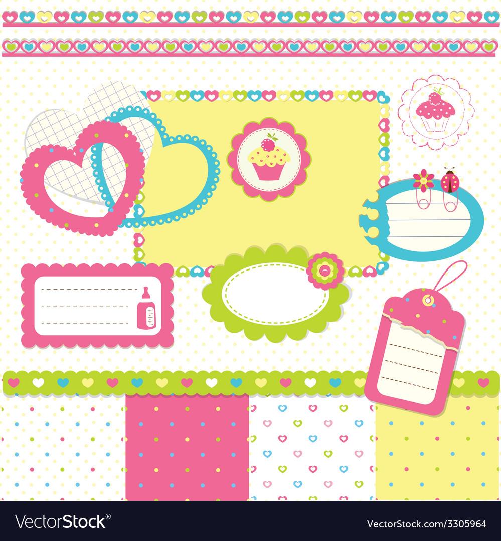 Birthday scrapbook set 3 vector | Price: 1 Credit (USD $1)