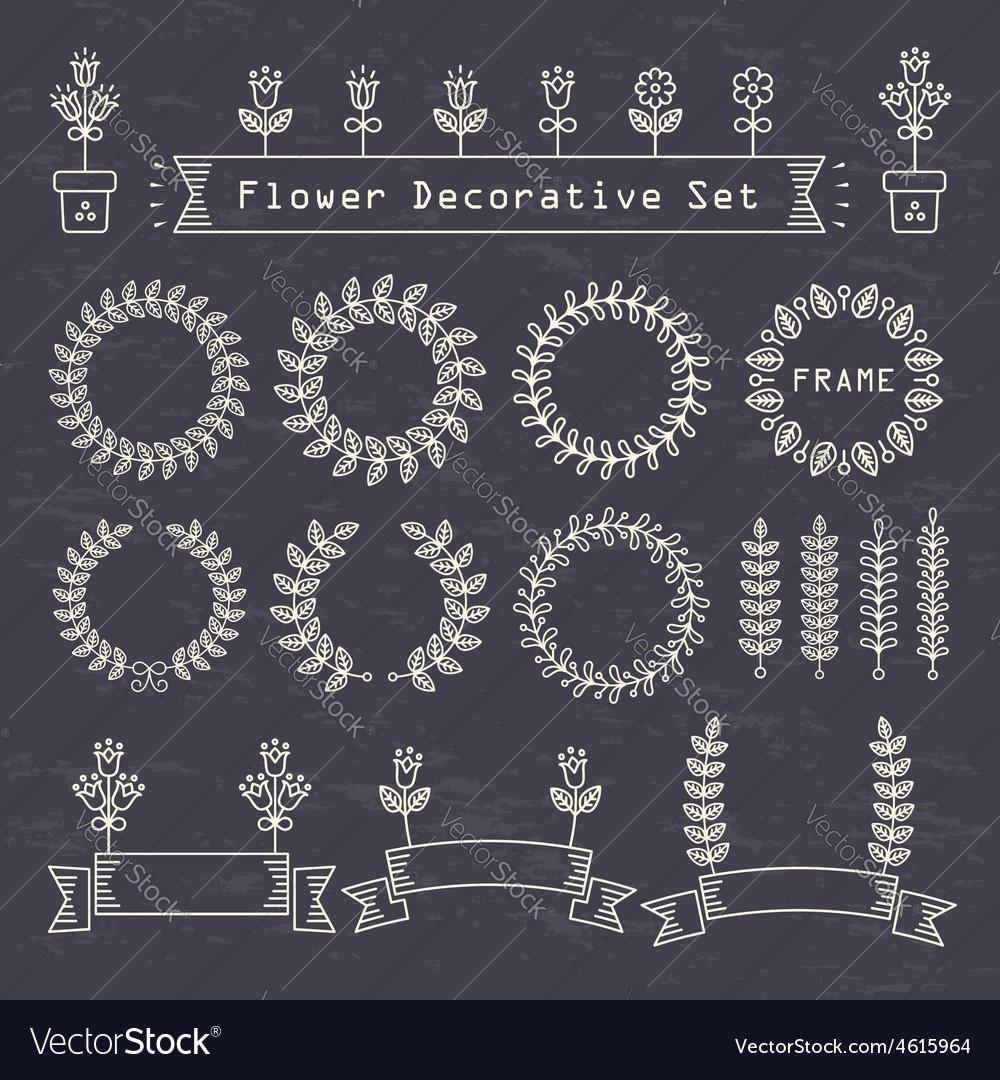 Flower decorative set vector | Price: 1 Credit (USD $1)