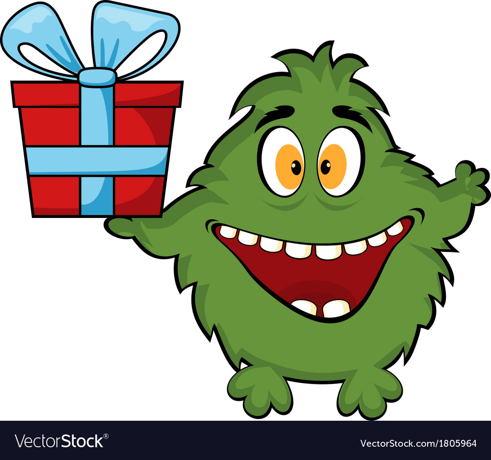Friendly monster holding a gift box vector | Price: 1 Credit (USD $1)