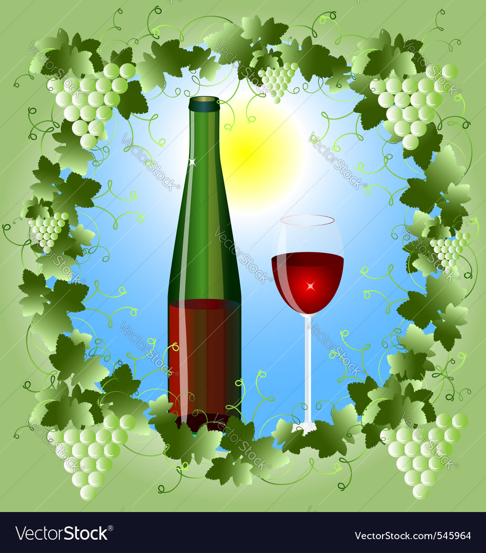 Grape frame and a glass of wine vector | Price: 1 Credit (USD $1)