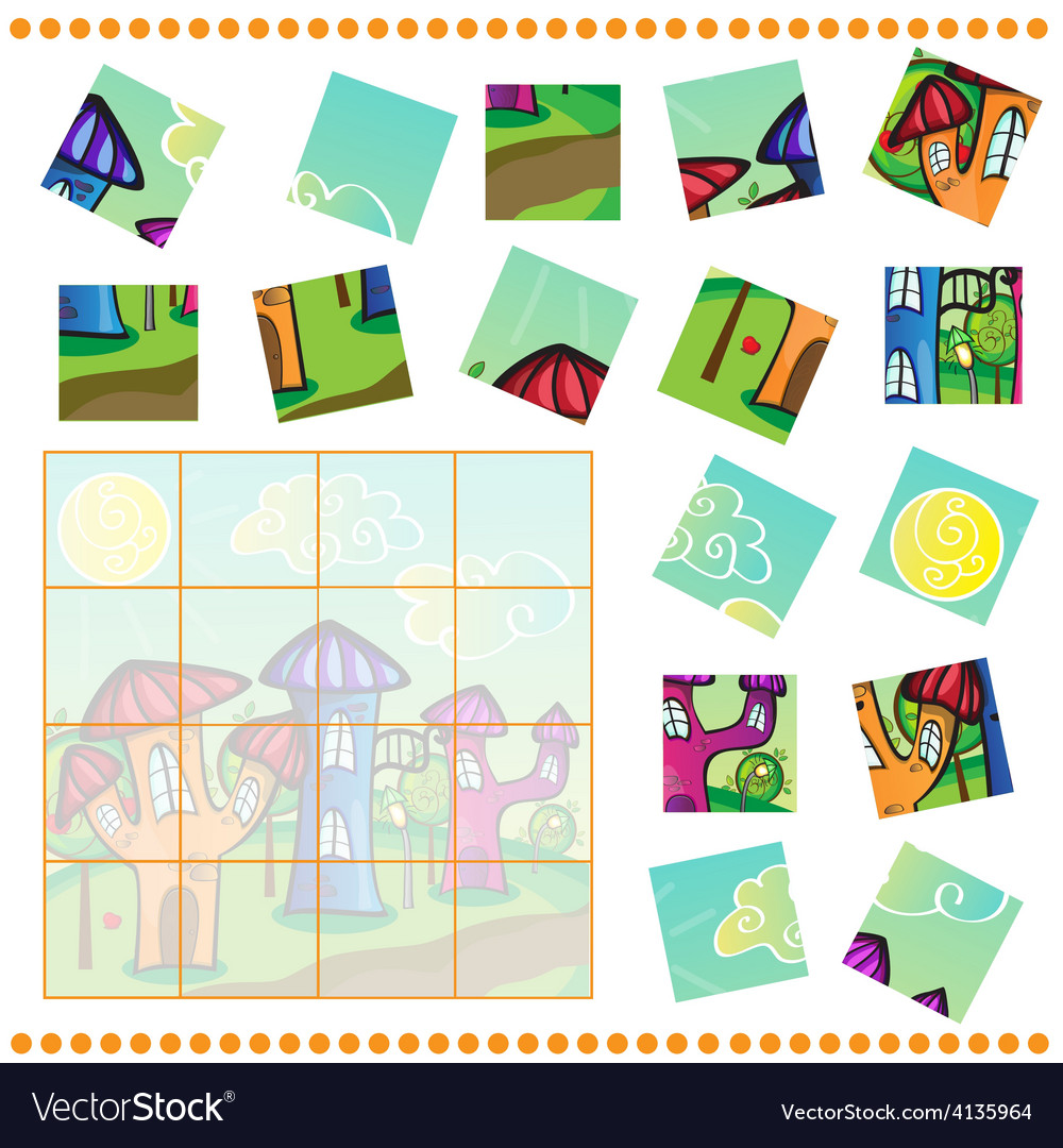 Jigsaw puzzle game for children vector | Price: 3 Credit (USD $3)