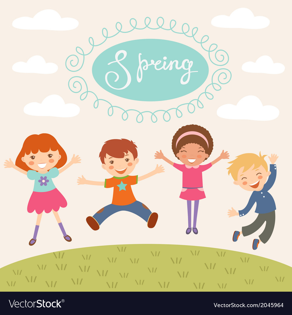 Jumping spring kids vector | Price: 1 Credit (USD $1)