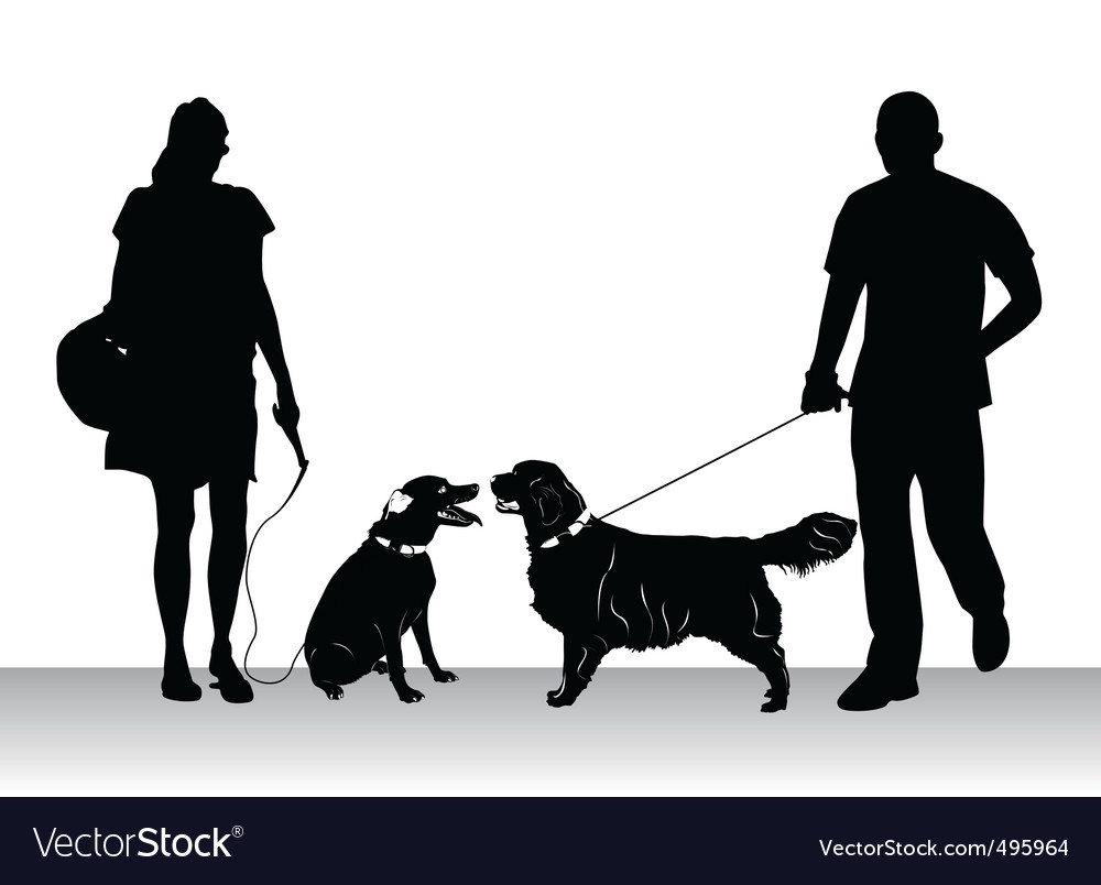 People walking dogs vector | Price: 1 Credit (USD $1)