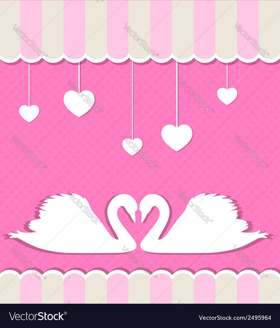 Pink background with two white swans vector | Price: 1 Credit (USD $1)