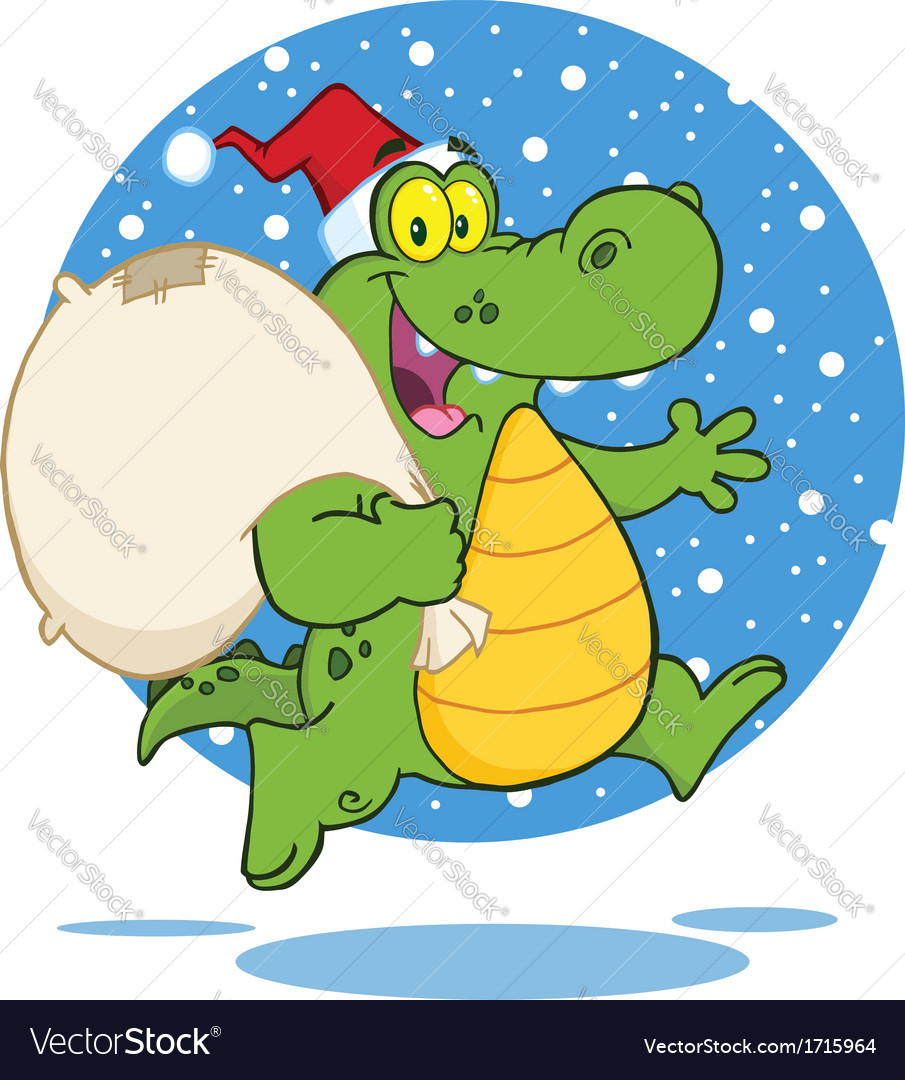 Royalty free rf clipart crocodile santa cartoon vector | Price: 1 Credit (USD $1)