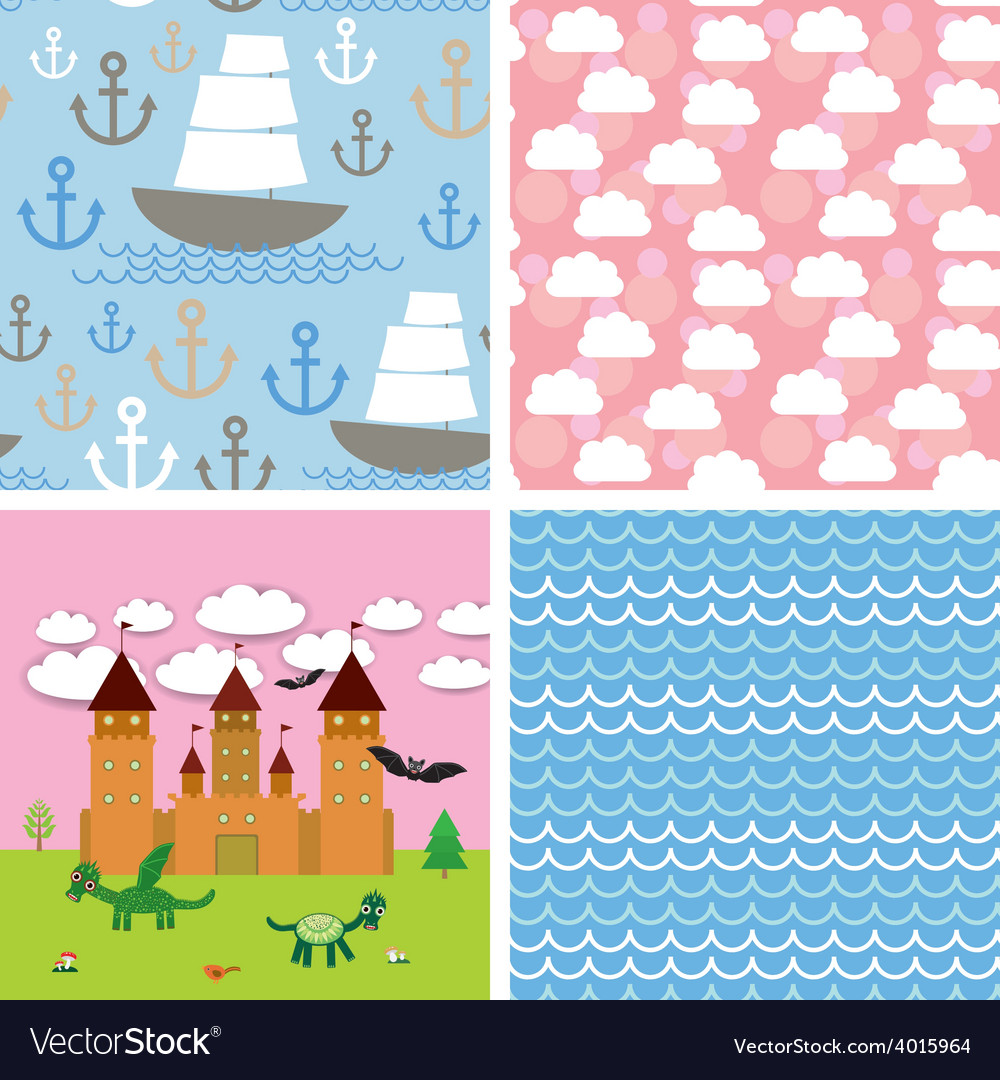 Set 3 seamless background castle fairytale vector | Price: 1 Credit (USD $1)