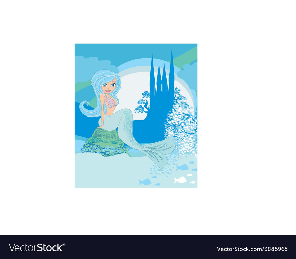 A beautiful mermaidcastle and fish vector | Price: 1 Credit (USD $1)