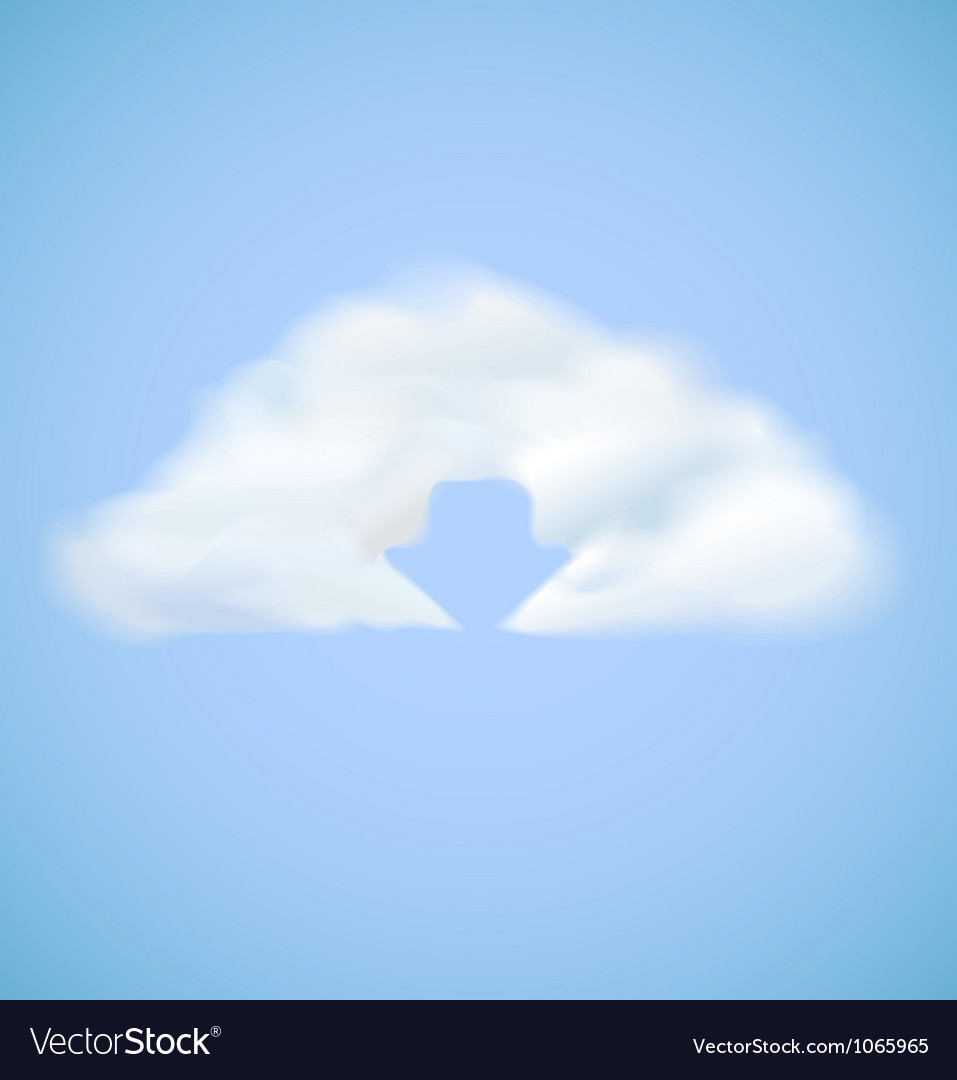 Cloud computing icon with arrow download vector | Price: 1 Credit (USD $1)