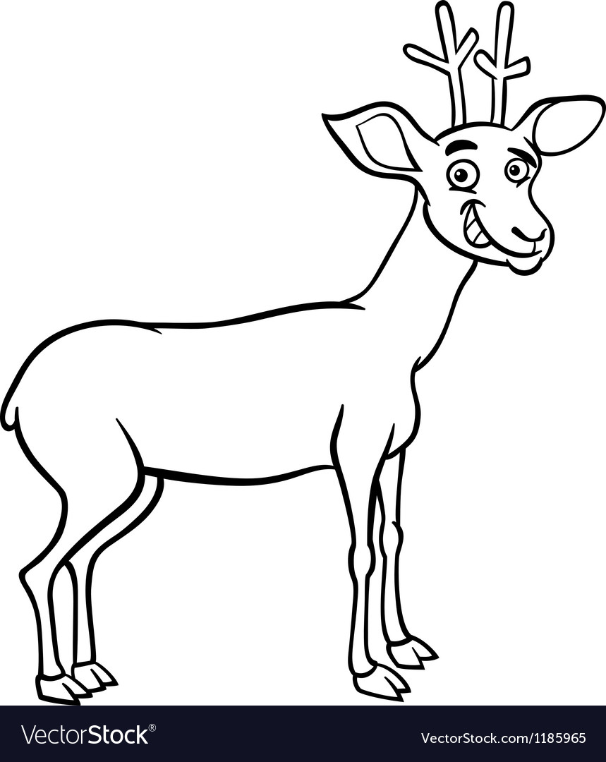 Deer cartoon for coloring vector | Price: 1 Credit (USD $1)