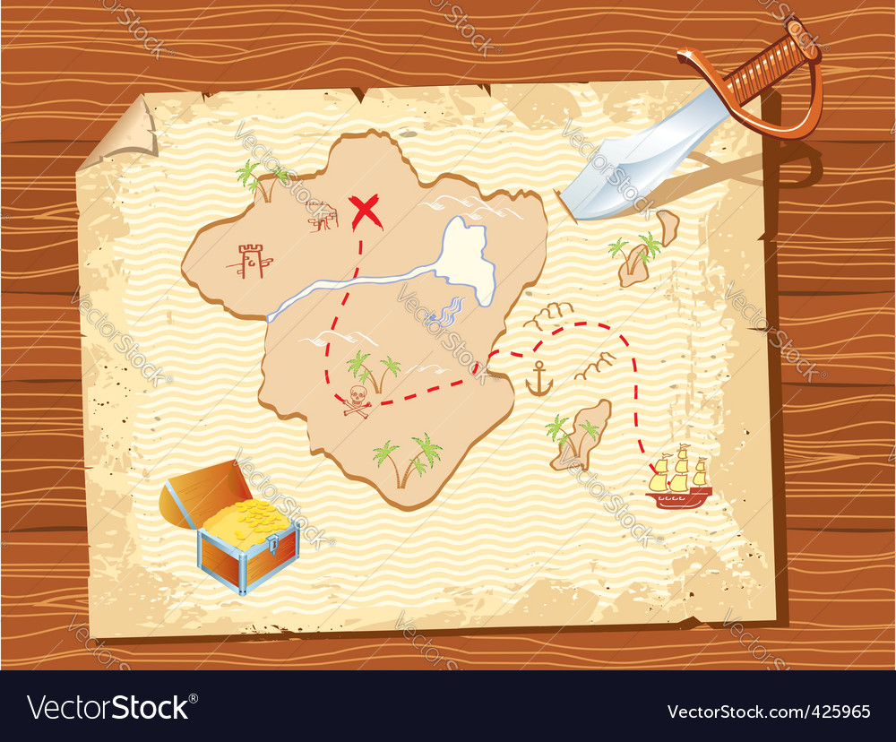 Pirate map vector | Price: 1 Credit (USD $1)