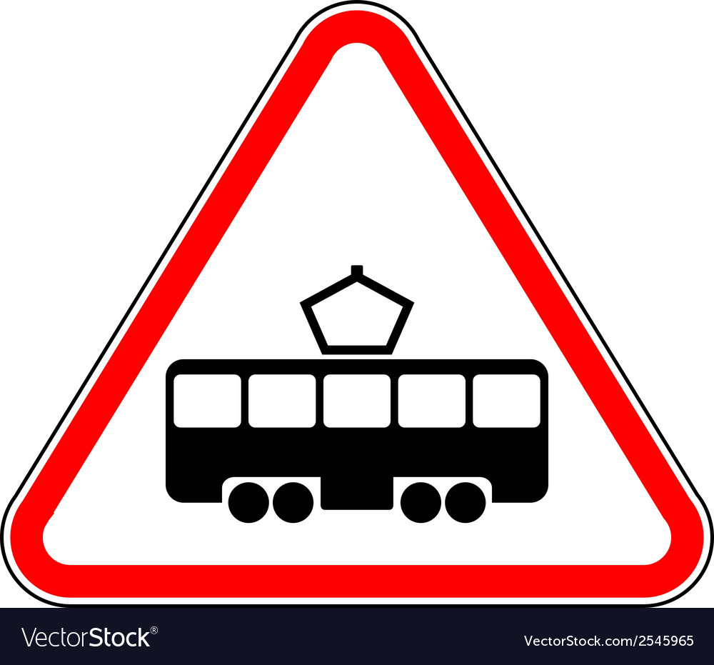 Road sign intersection with the tram line vector | Price: 1 Credit (USD $1)