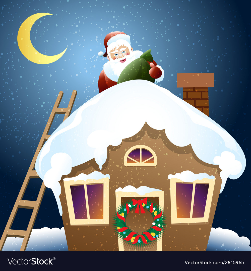 Santa claus with christmas gift on a roof vector | Price: 1 Credit (USD $1)