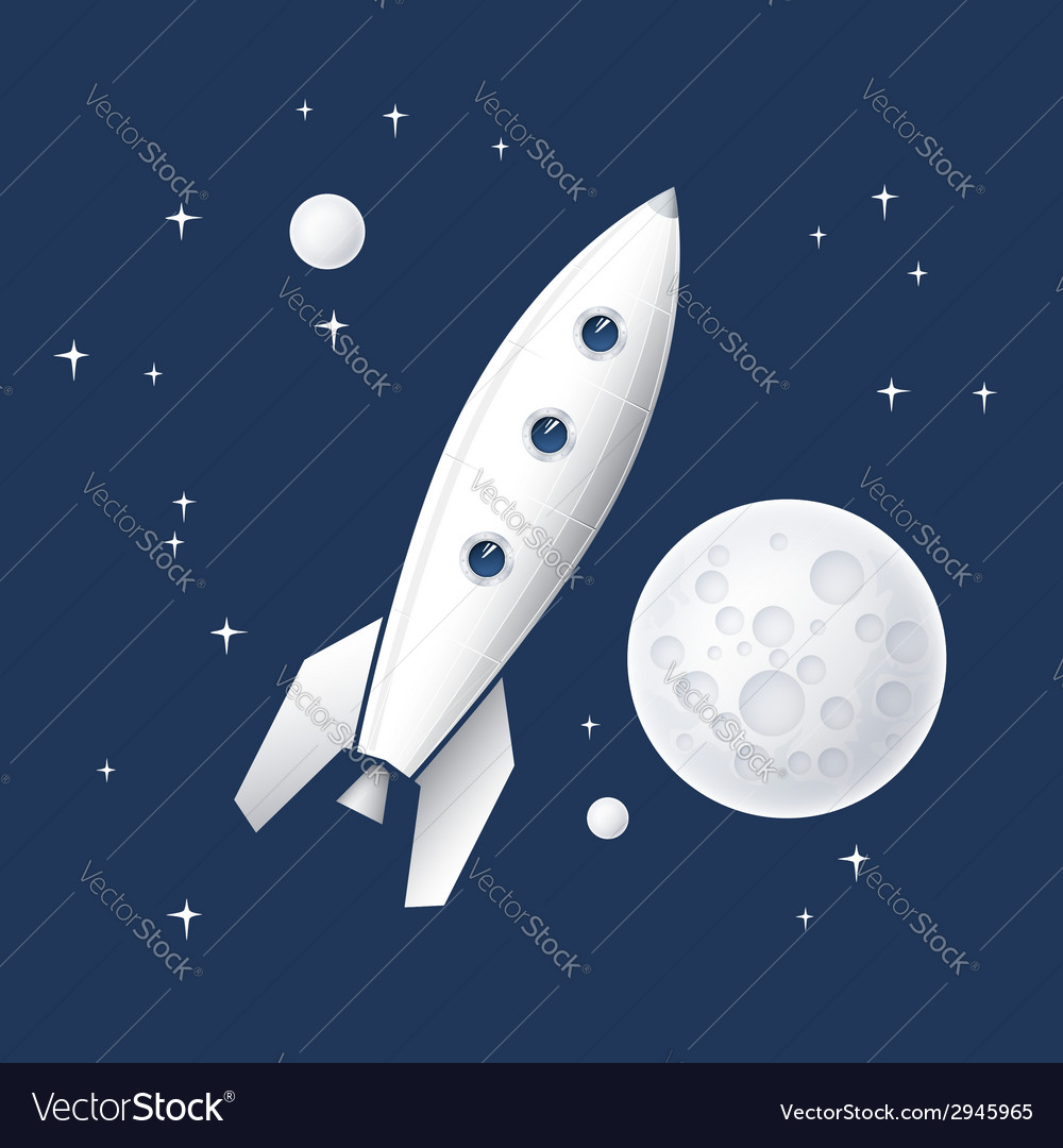 Space rocket flying in space vector | Price: 1 Credit (USD $1)