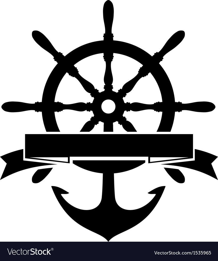 Steering wheel and anchor vector | Price: 1 Credit (USD $1)