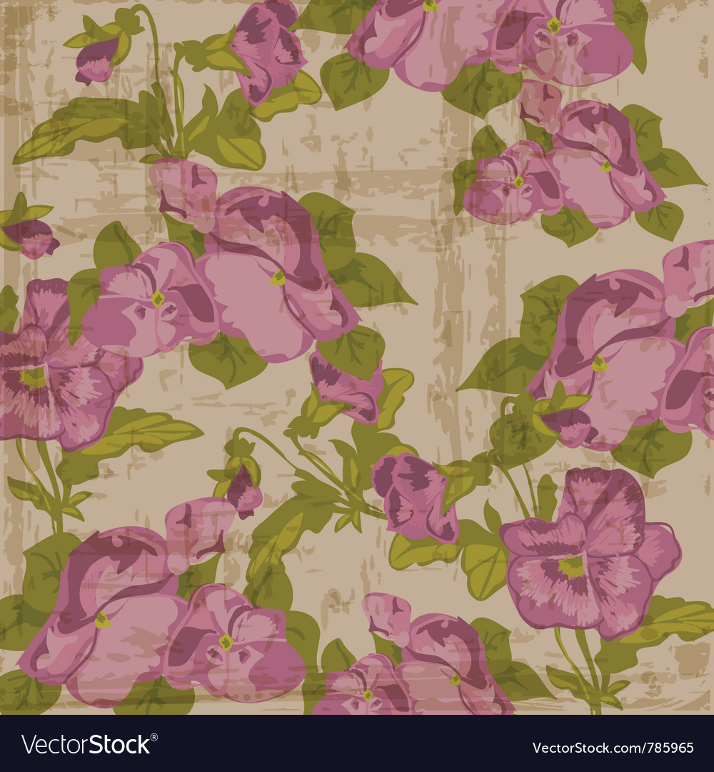 Vintage viola flowers vector | Price: 1 Credit (USD $1)