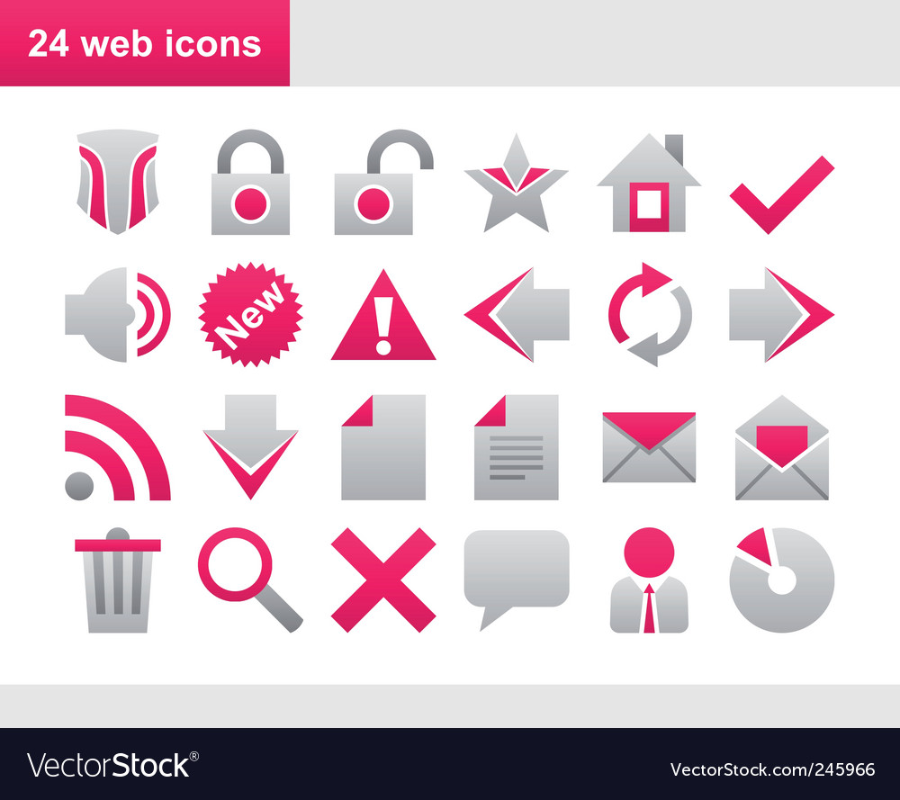 24 popular pink web icons vector | Price: 1 Credit (USD $1)