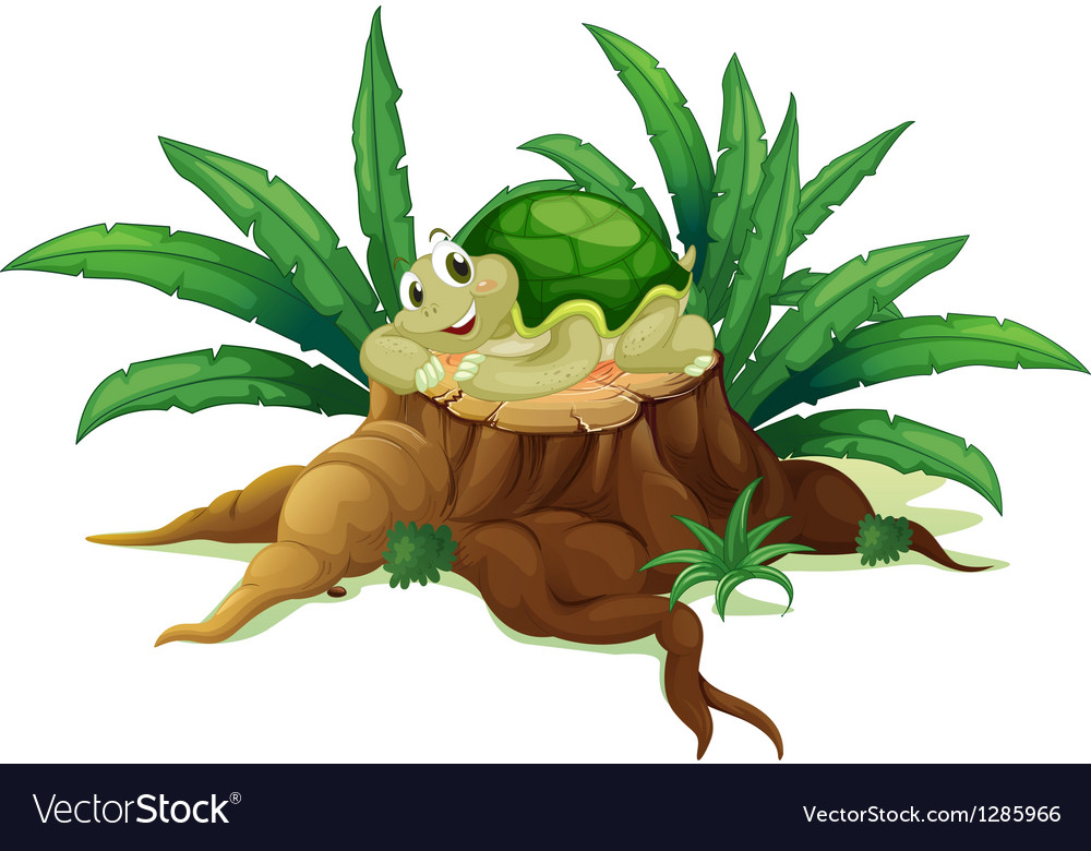 A turtle above a trunk vector | Price: 1 Credit (USD $1)
