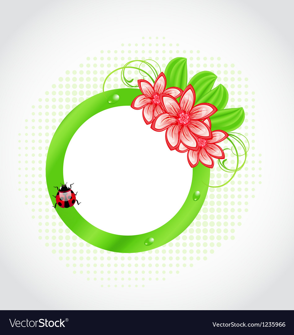 Cute spring label with flower leaves lady-beetle vector | Price: 1 Credit (USD $1)