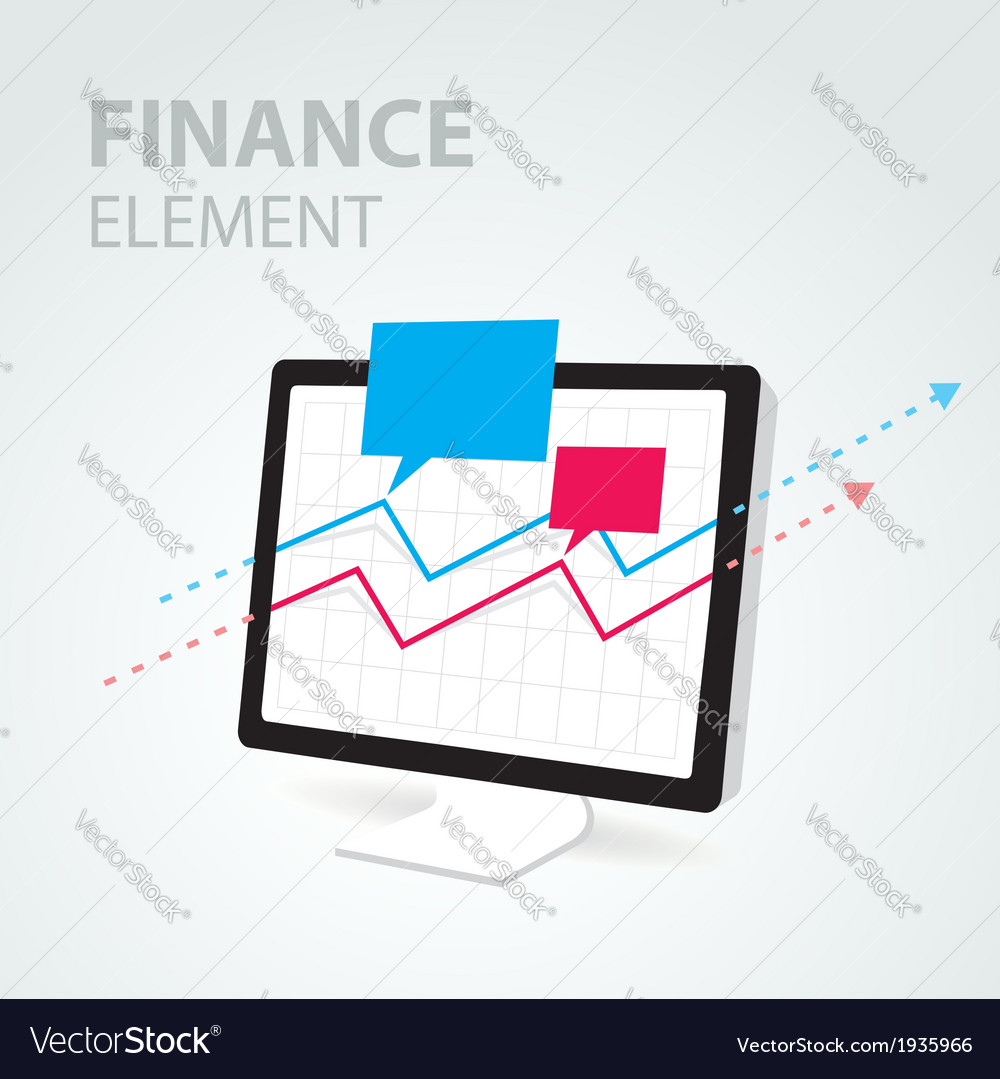 Finance diagram icon element computer pc display vector | Price: 1 Credit (USD $1)