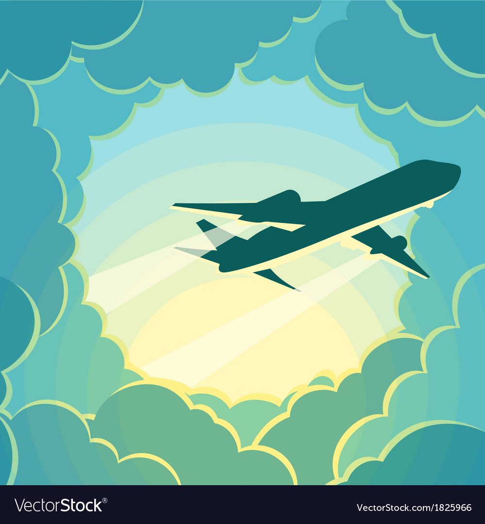 Plane flies through the clouds vector | Price: 1 Credit (USD $1)
