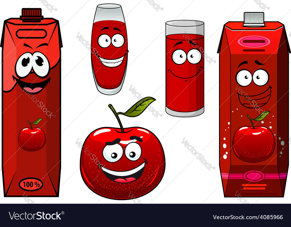 Red apple fruit and juice packs vector | Price: 1 Credit (USD $1)
