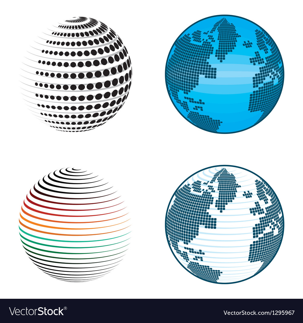 Abstract globe icons and symbols vector | Price: 1 Credit (USD $1)