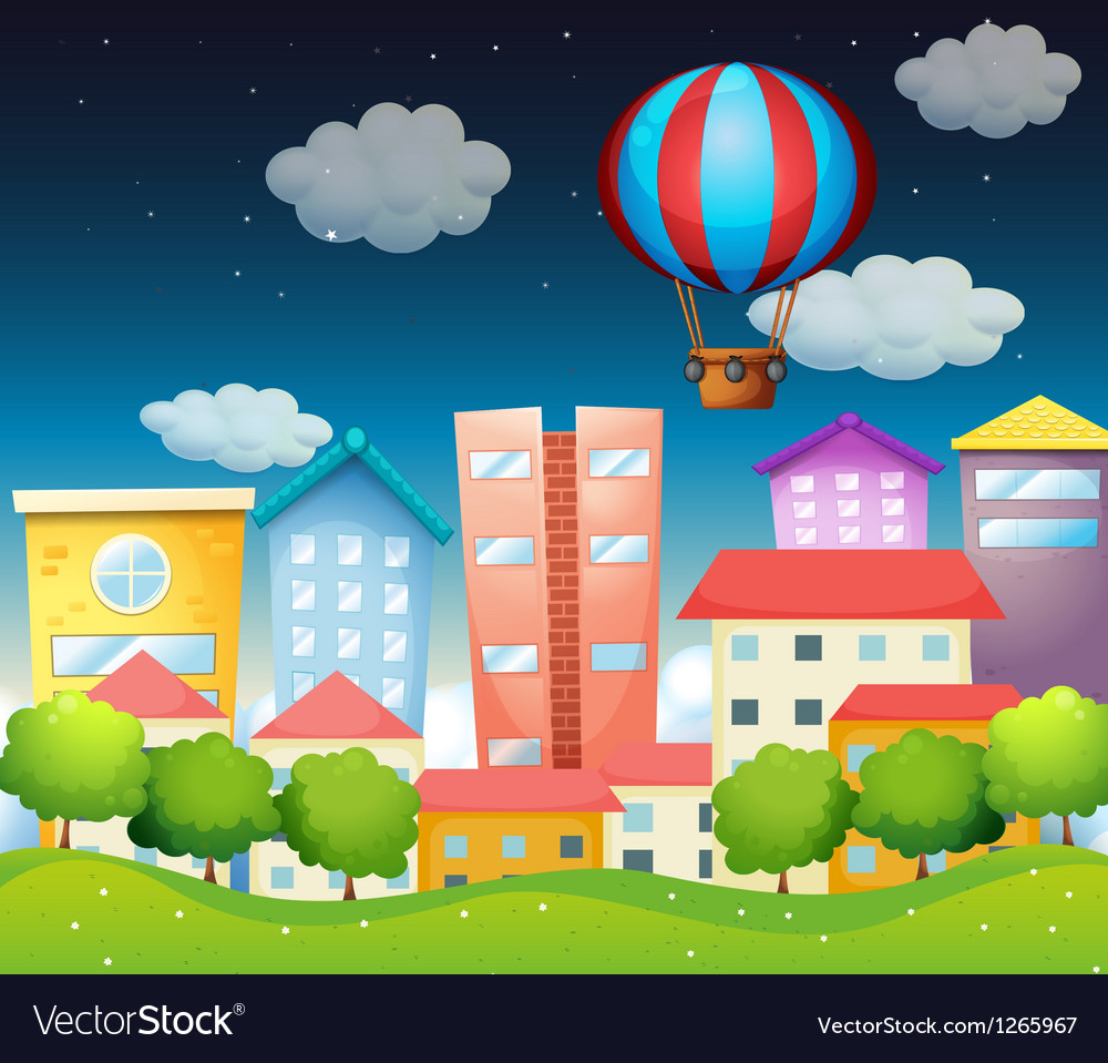 An air balloon at the city vector | Price: 1 Credit (USD $1)