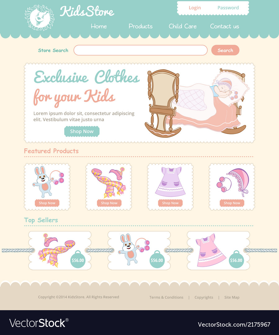 Baby on line store web template vector | Price: 1 Credit (USD $1)
