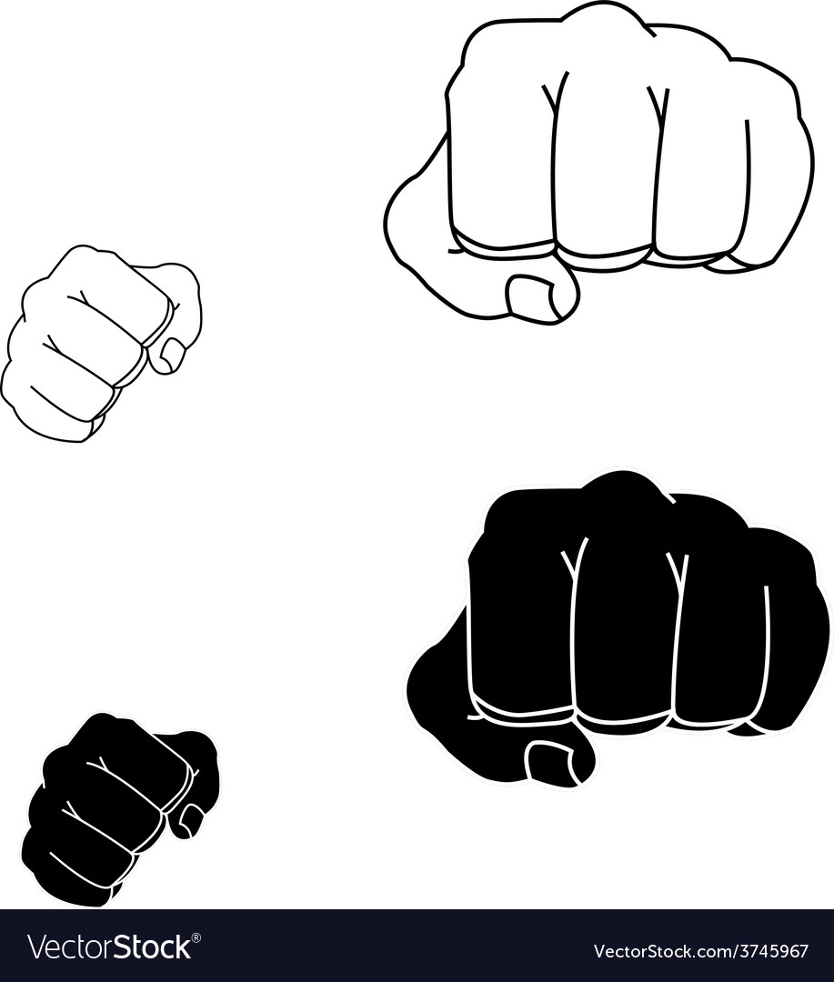 Clenched striking man fists in fight stance black vector | Price: 1 Credit (USD $1)