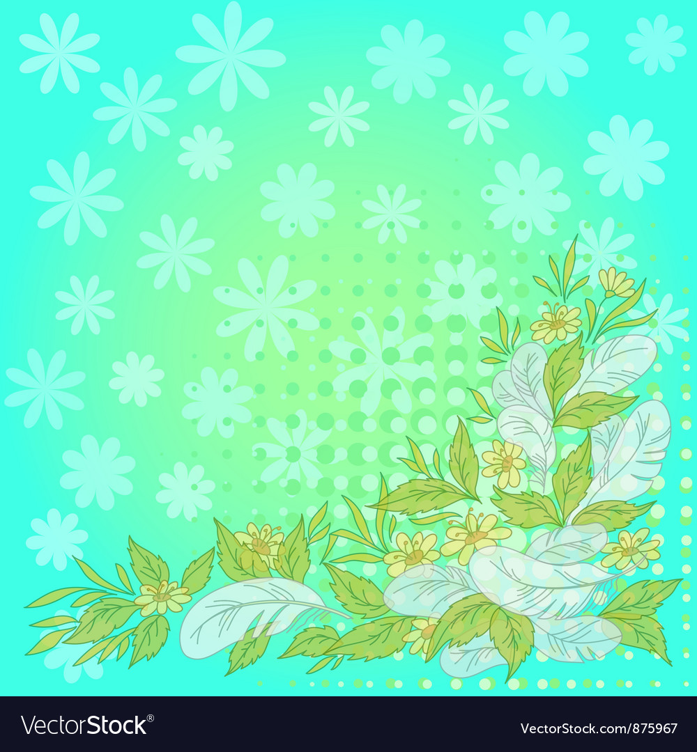 Flowers leaves feathers on blue and green vector   Price: 1 Credit (USD $1)