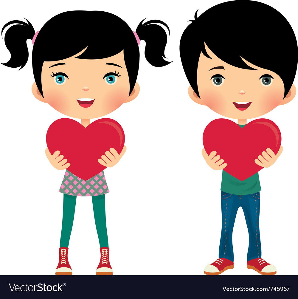 Girl and boy give valentine vector | Price: 3 Credit (USD $3)