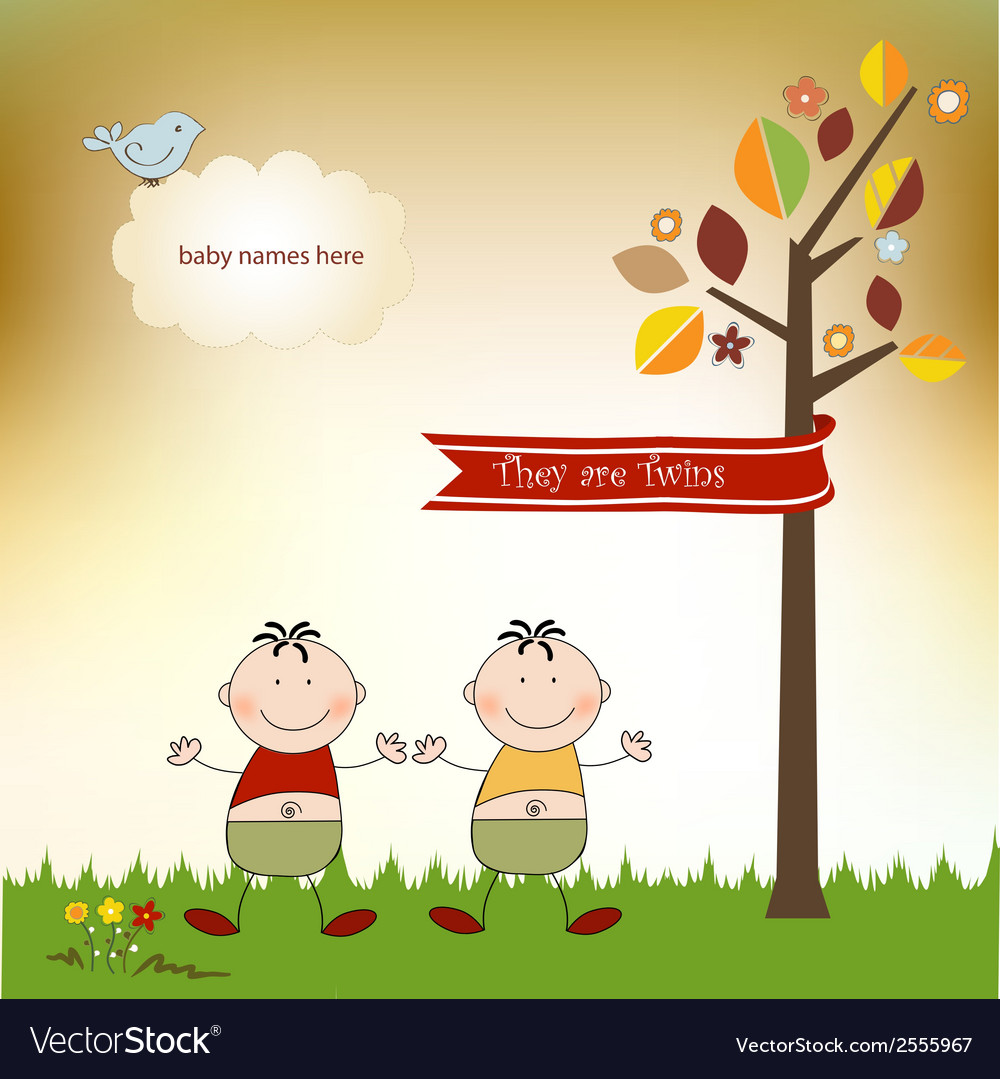 Happy twins vector | Price: 1 Credit (USD $1)