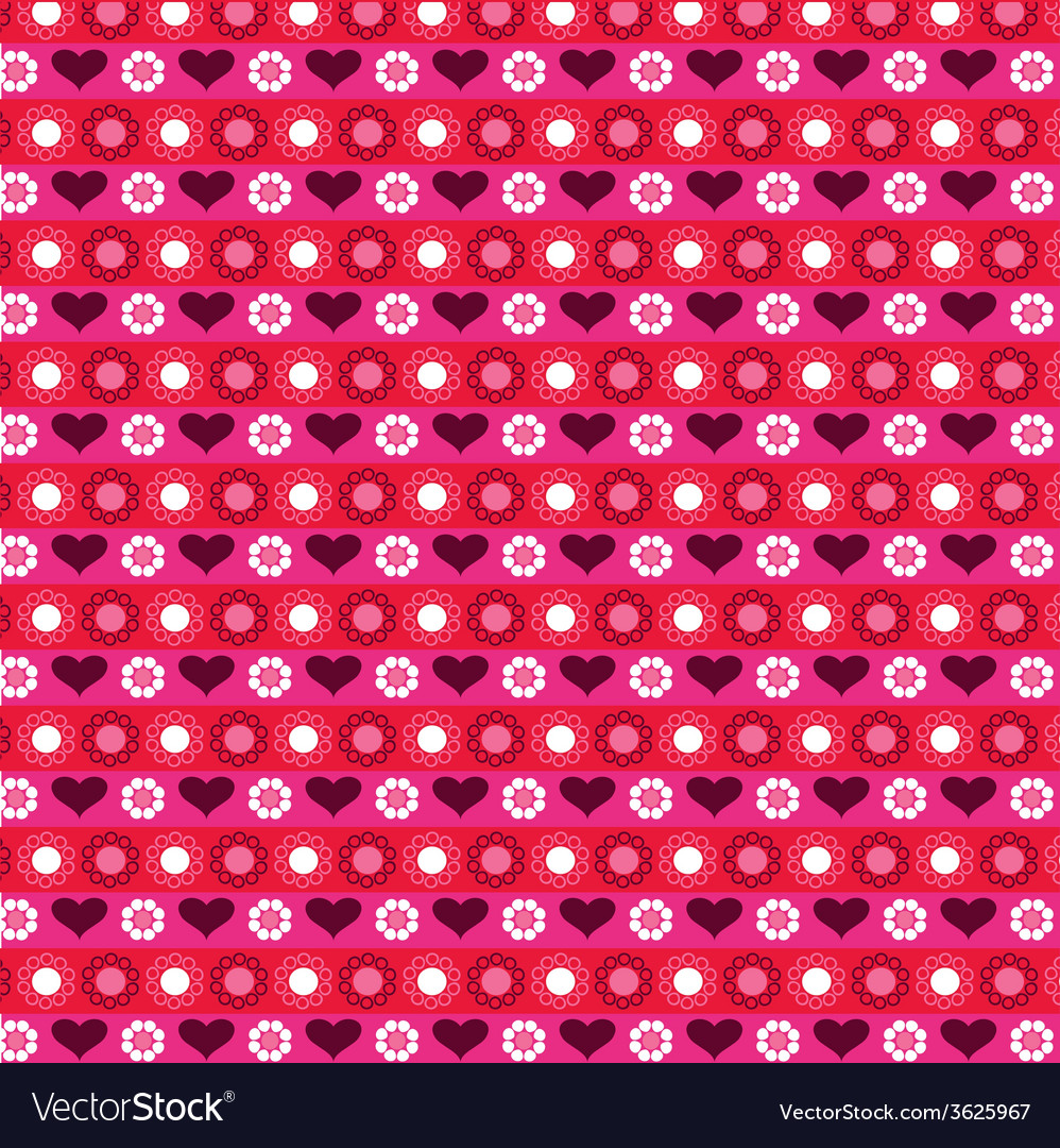 Heart and flower pattern vector